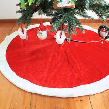 122CM/48'' Round Red Plush Xmas Christmas Tree Skirt Santa Claus Decorations