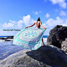 Indian Elephant Peacock Mandala Round Roundie Cotton Tapestry Beach Yoga Mat Rug