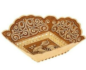 "6"" Birch Bark Square Plate Serving Dish Bowl with Mushrooms Art. Handmade Russia"
