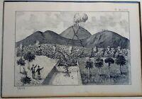 Litografia Campania: Cercola Eruzione del Vesuvio 1875 (P416) Come da foto