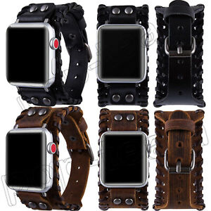 For Apple Watch Band Genuine Leather Cuff Strap 40/44/38/42 mm Series SE 6 5 4 3