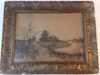 "George H Bohde Etching Lamdscape In Ornate Antique Gesso Frame 24""x19""."