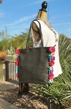 Betsey Johnson Gypsy Rose Woven Black With Multi Color Flower Embellish Bag NWT