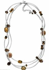 Silpada Sterling Silver Tiger's Eye Pearl Smoky Quartz Necklace N2264 Triple