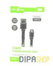 Cavo Usb TeKone 6A Dati Ricarica Piatto Per Apple Iphone 6 6s 1m Nero hsb