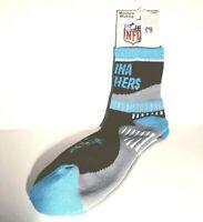 Carolina Panthers Football NFL Black & Blue Gray Curve Bottom Deuce QTR Socks