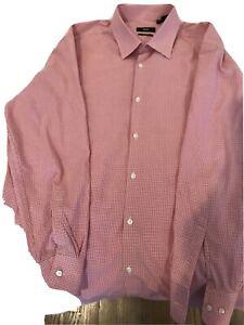 BOSS Hugo Boss Black Label Red Check Sharp Fit  L/S Dress Shirt SZ 17.5 -32/33