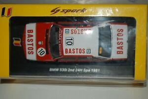 BMW 530i #10 Bastos 2nd 24h Spa 1981 E.Joosen 1/43 spark SB334 New