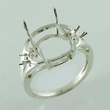 Semi Mount Ring Cushion Shape 10x12 MM 925 Sterling Silver Anniversary Jewelry