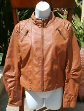 Paris Blues Girl's Junior Light Brown Faux Leather Bomber Jacket Coat Size Large