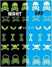 Nail Art Water Decals Glow in the Dark Night Time Skull Bones Bats Halloween DG