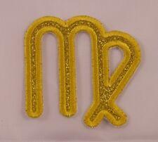 Embroidered Gold Glitter Sparkle Horoscope Zodiac Virgo Sun Sign Patch Iron On