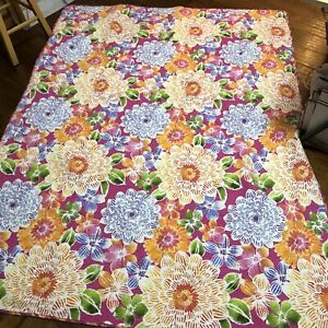 Cynthia Rowley TWIN Reversible Quilt Girls Pink Purple Green Flowers 62x82 Bed