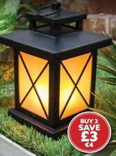 Garden Outdoor Battery Operated Flickering Flame Effect LED Lantern - Warm White