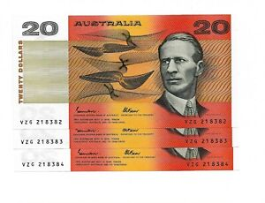 Australia p-46e, UNC, 20 Dollars, 1985 , Phillips & Randall, Consecutive