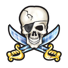 12 - Pirate Skull Temporary Tattoos, Swords, Face tattoo made in the USA