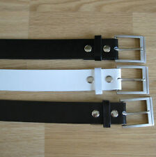 LOT of 3 Leather snap on belt black brown white (choice colors, designs & sizes)