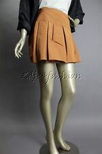 New with Tags PRADA Ocra Silk Polyester Pleated Brown Rust Wrap Mini Skirt 8 42