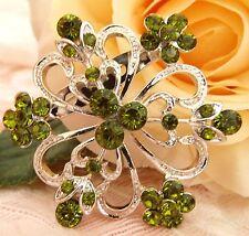 Rhinestone Crystals Flower Brooch new