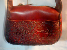 Vintage Hand Tooled Leather Hippie Floral  Deer Hand Bag BoHo Purse Shoulder