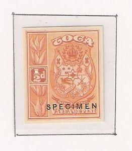 Tonga: 1897; Scott  38, SPECIMEN in orange on thick paper, imperforate EBTO002