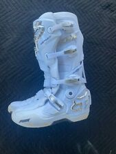 Fox Racing Instinct Motocross Boots Size 10 White/Silver Like New