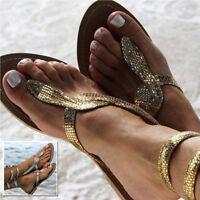 Women Gladiator Sandals Summer Beach Flat Heel Open Toe Leather Shoes Flip Flops