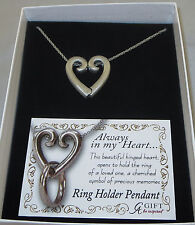 "Heart Ring Holder Locket Necklace 20"" Always In My Heart Ring Holder Pendant New"