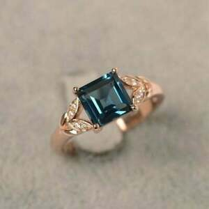 2Ct Princess Cut London Blue Topaz Solitaire Engagement Ring 14K Rose Gold Over