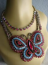 BETSEY JOHNSON~FLIGHTS OF FANCY~CRYSTAL BUTTERFLY STATEMENT NECKLACE~NWT~RARE