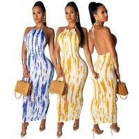 Women Halter Backless Print Casual Club Party Cocktail Bodycon Midi Dress