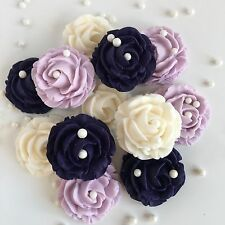 Ivory/Cream Purple & Lilac Roses Sugar Paste Bouquet Edible Flowers Cake Toppers