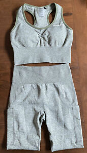 NWOT Modstreets Seamless Olive/White Heather Workout Outfit 2-Piece Size MEDIUM