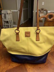 Dooney & Bourke Yellow & Navy XLarge Satchel Leather Handbag/Purse. NWOT