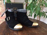 Balmain x H&M Black & Gold suede toe cap boots UK 5 EUR 38