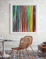 Original abstract oil pastel acrylic painting 16X20 canvas textured contemporary