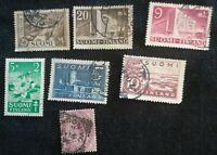 lot N°90 - 7 timbres FINLANDE SUOMI
