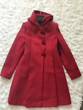 ROTHSCHILD HOODED ROSETTE FAUX WOOL SCARLET RED COAT LARGE 14. *** NEW W/TAGS!