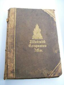 1859 Companion Atlas Gazetteer 48 Plate Prints World Maps Book G.H. Swanston