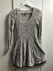 Free People grey dress with lilac underskirt, size S