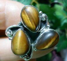 Tiger's Eye Ring Matte Teardrop Triple 925 Sterling Silver Vtg Style Sz 9 1/4