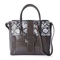 Dark Gray Faux Leather Snake Skin Pattern Tote Bag with Shoulder Strap
