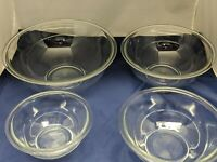 Set of 4 PYREX Clear Nesting Mixing Bowls Set 322, 323, 325, 326 ~ USA VERY NICE