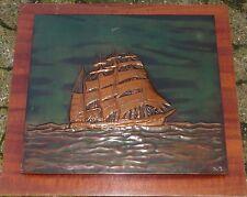 """Kupferbild """"Segelschiff"""" auf Holzplatte, 55x60 cm  (232/13015)"""