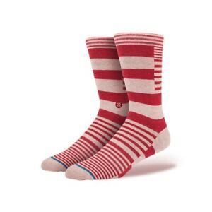 New Stance Stairway Top Stitch Cashmere Wool Blend Socks L/XL Red Stripe