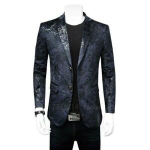 Men Lapel Two Button Jacket Slim Fit Floral Blazer Blazer Coat Dress Formal New