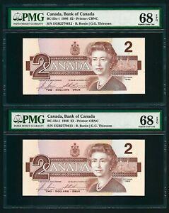 Canada 🇨🇦 1986 - 2 Consecutive $2 Banknotes - PMG Superb Gem UNC 68 - TOP POP