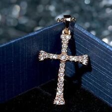 18k yellow gold made with Swarovski crystal cross pendant fashion necklace