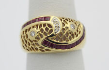 18k Yellow Gold YG Stunning Filigree Pink Sapphire & Diamond Ring Sz 7.5  F210