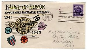 #940 Veterans WWII First Day Cover 1946 -  Hand Drawn Henriques - SCARCE